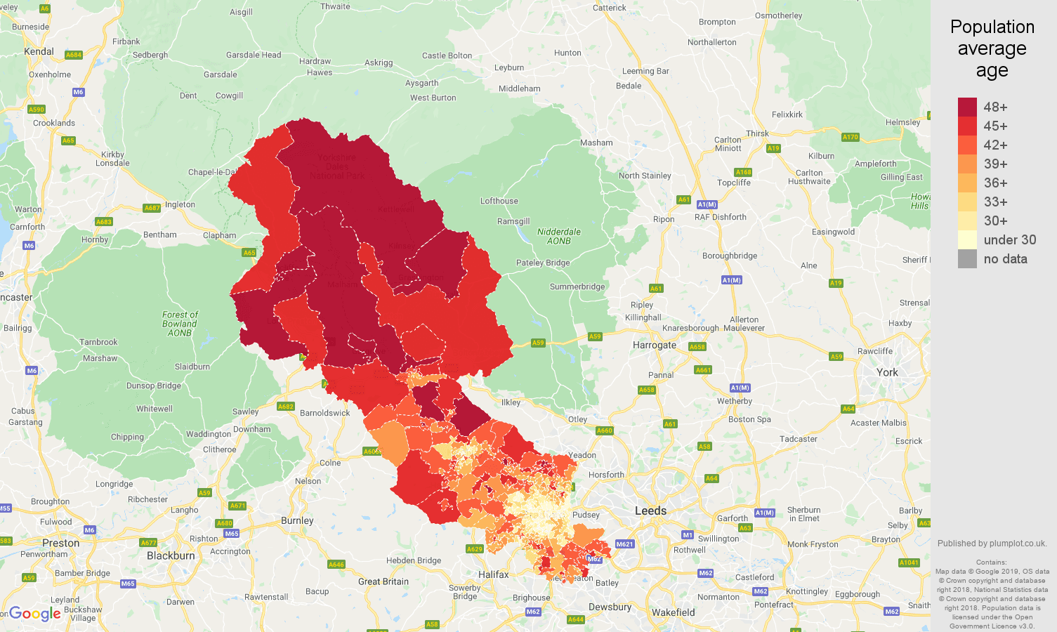 Bradford population average age map
