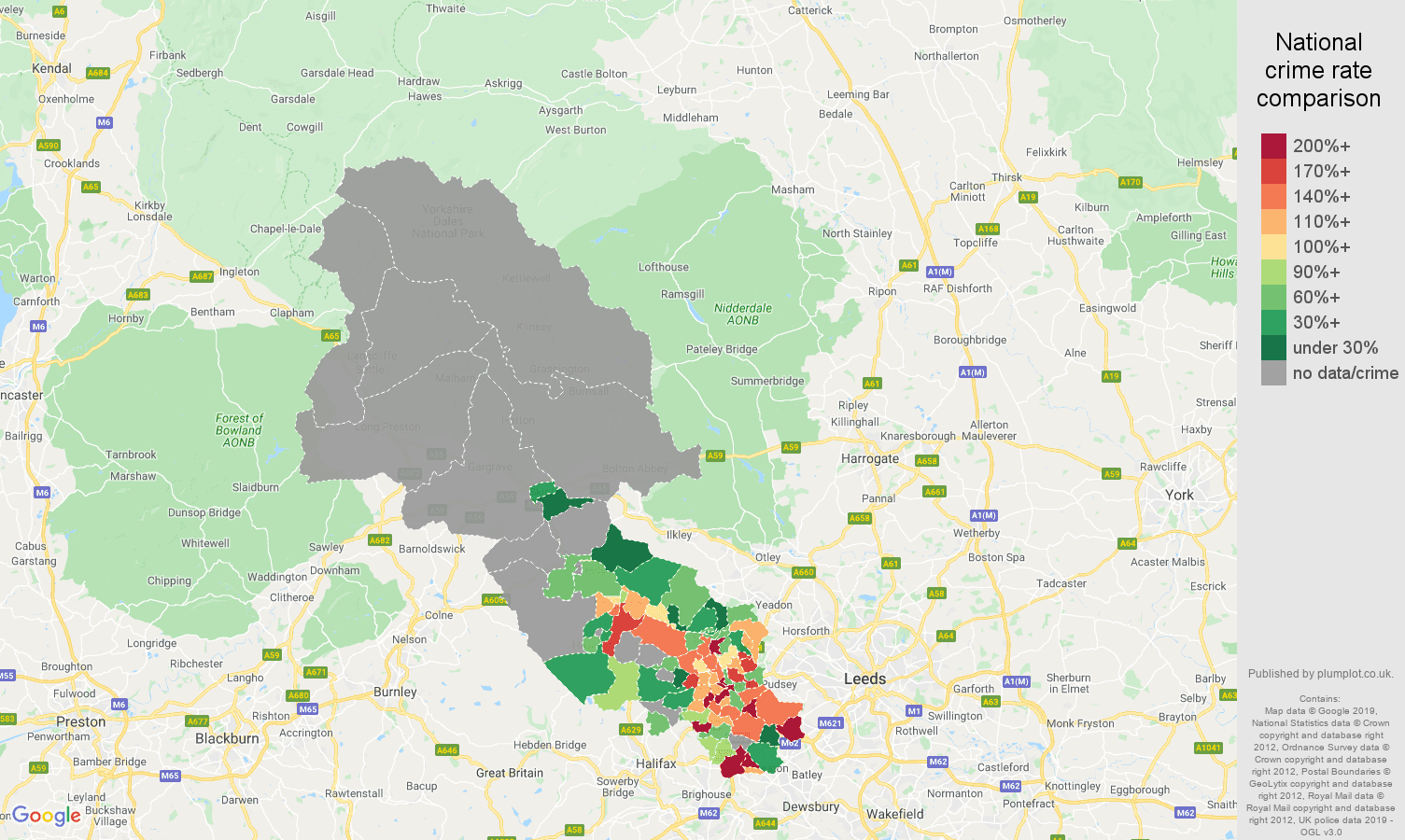 Bradford possession of weapons crime rate comparison map