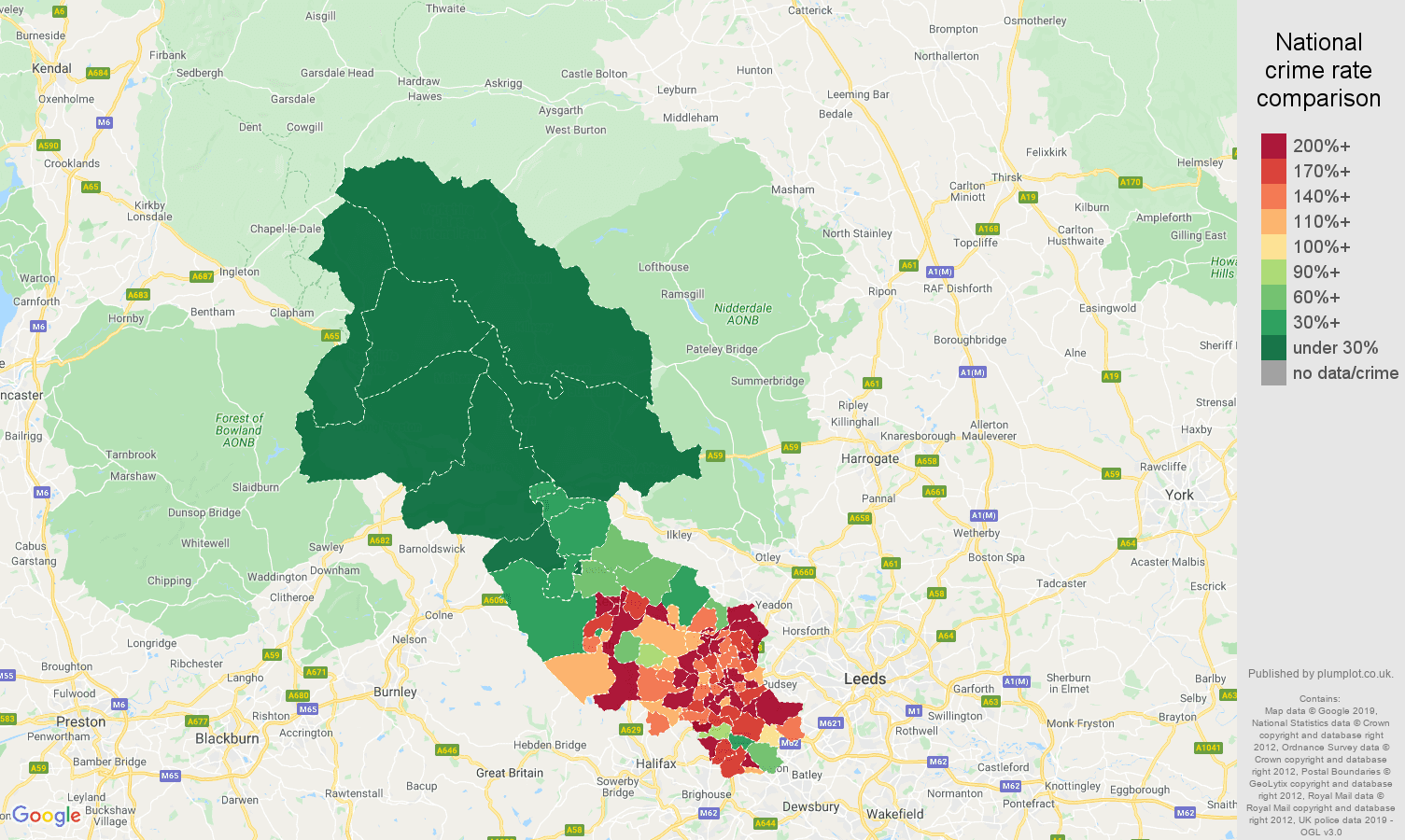 Bradford public order crime rate comparison map