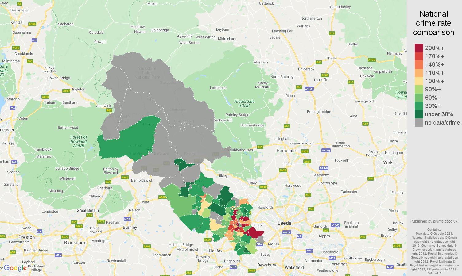 Bradford robbery crime rate comparison map