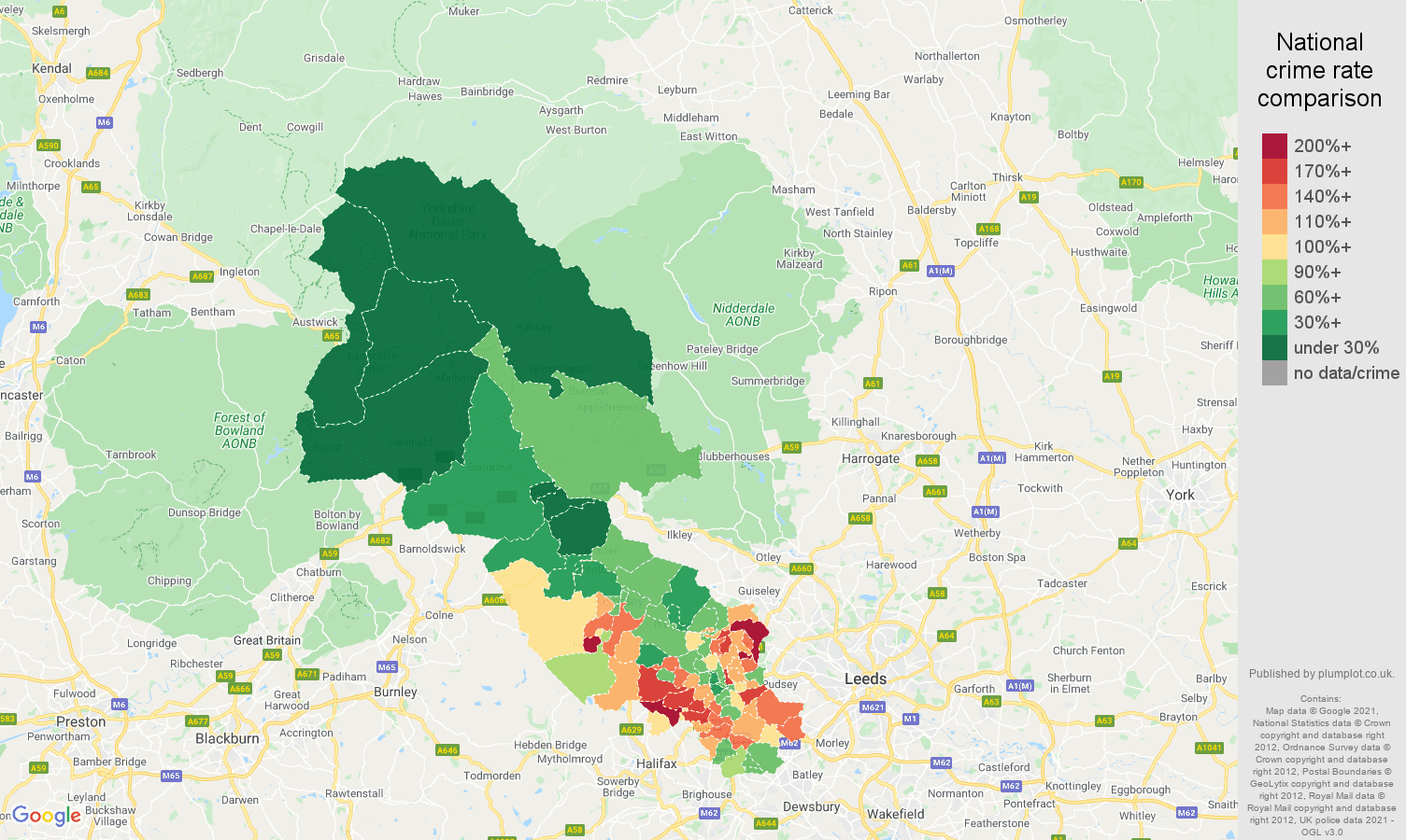Bradford vehicle crime rate comparison map