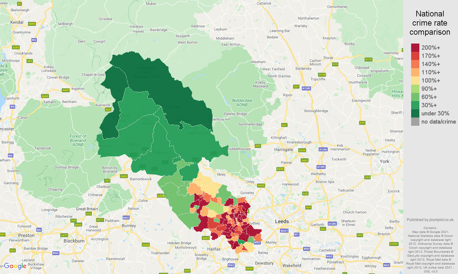 Bradford violent crime rate comparison map