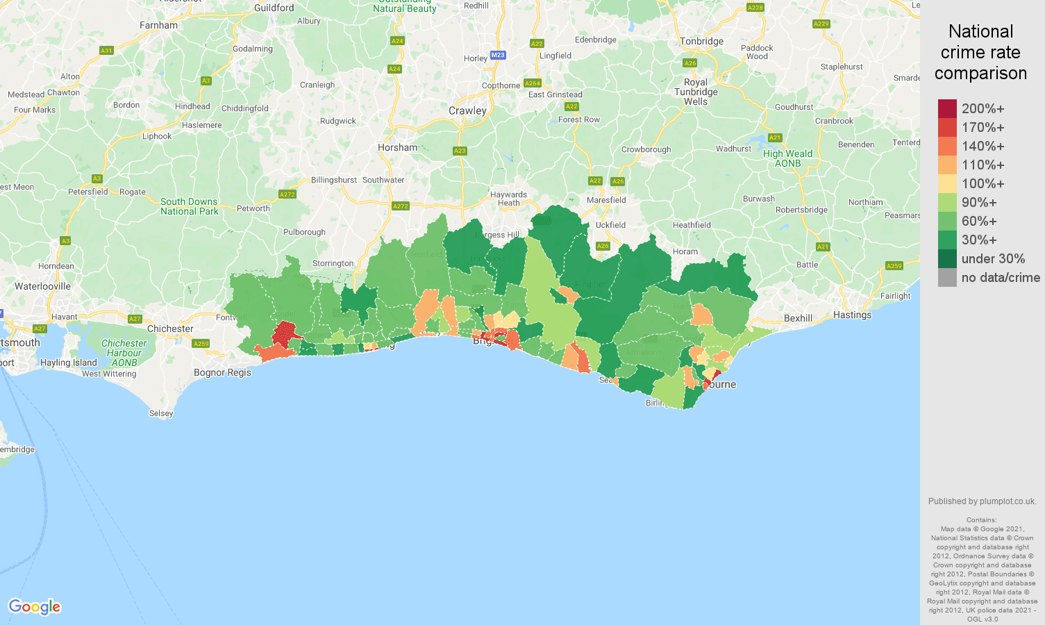 Brighton antisocial behaviour crime rate comparison map