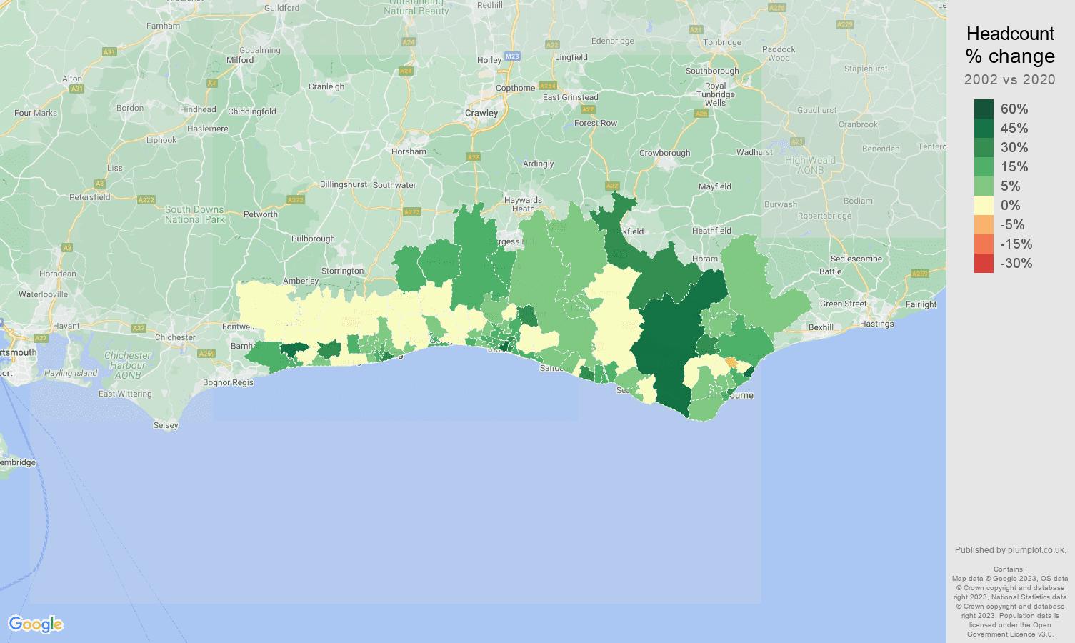 Brighton headcount change map