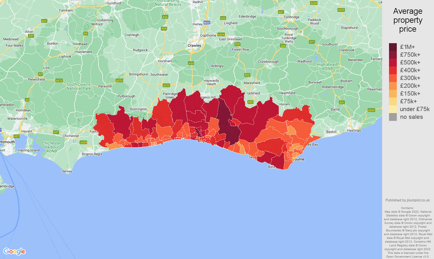 Brighton property prices by postcode sector