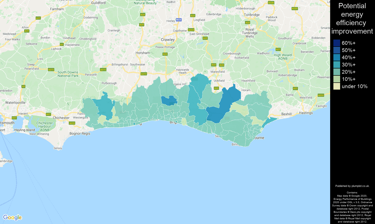 Brighton map of potential energy efficiency improvement of houses