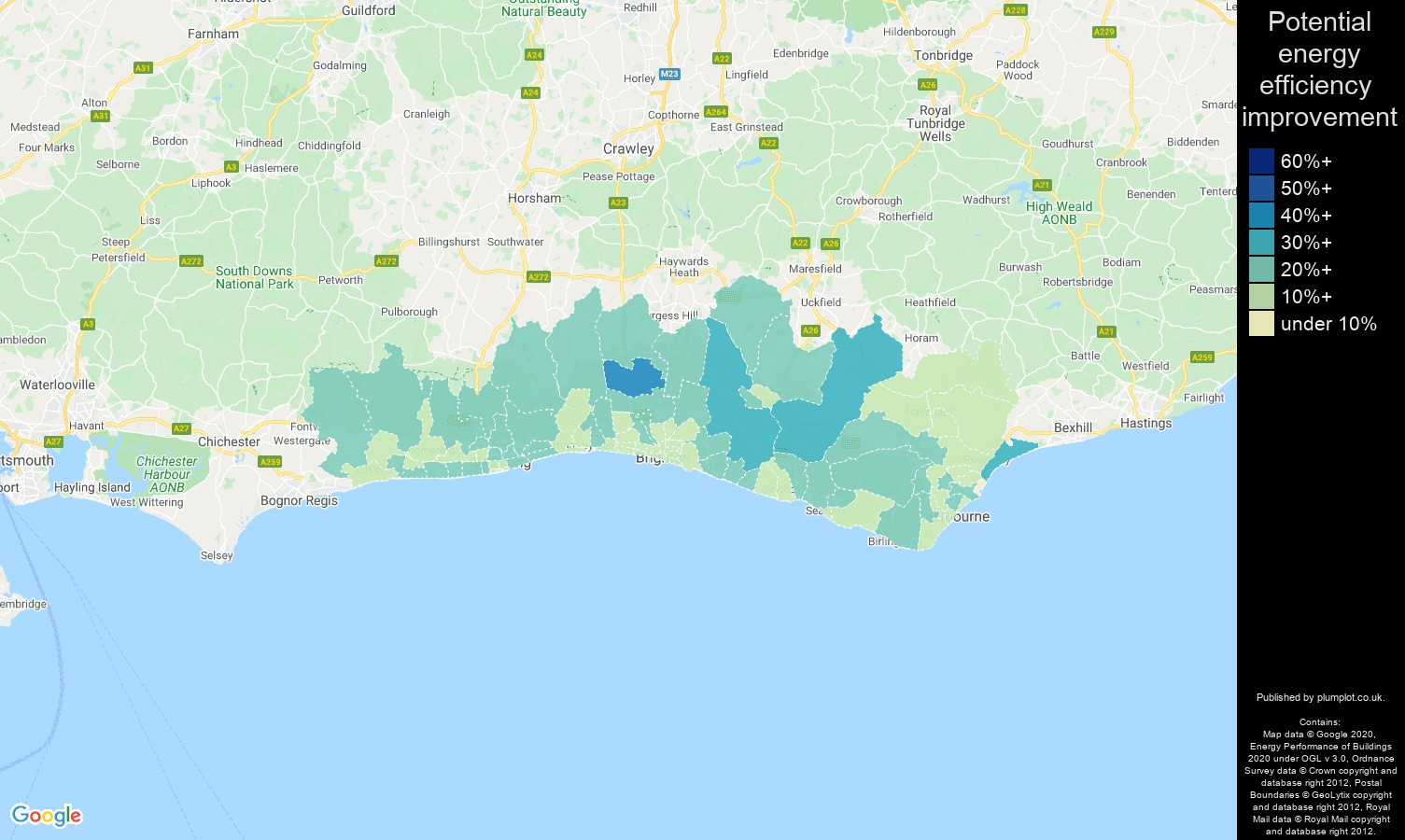 Brighton map of potential energy efficiency improvement of properties