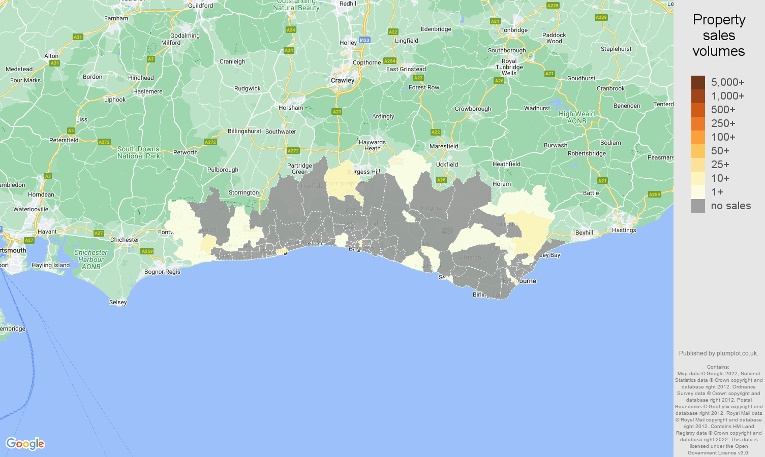 Brighton map of sales of new properties