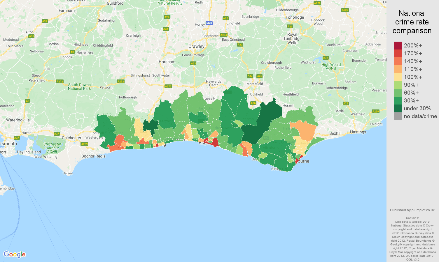Brighton public order crime rate comparison map