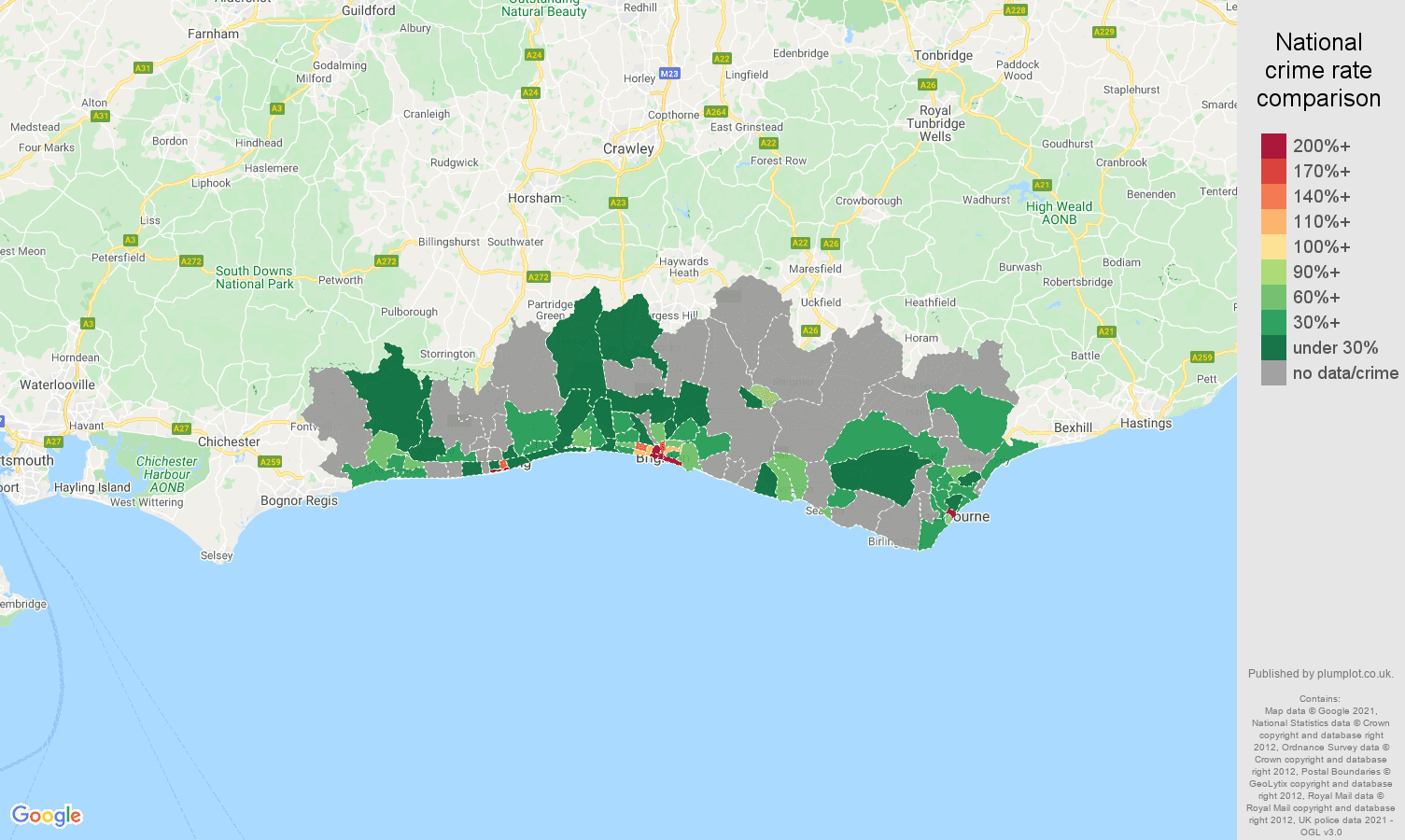 Brighton theft from the person crime rate comparison map