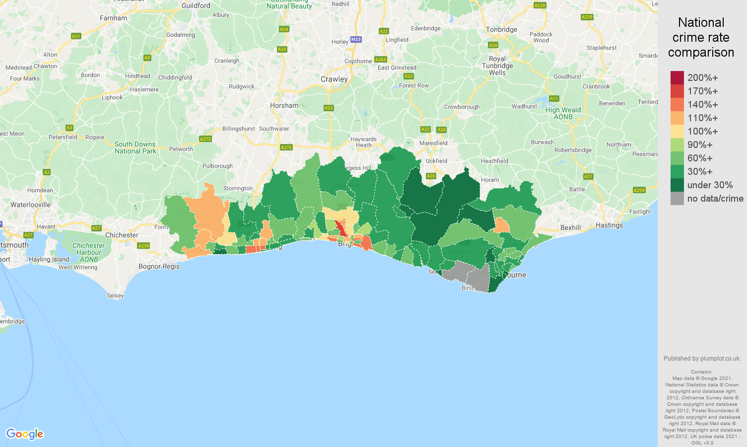 Brighton vehicle crime rate comparison map