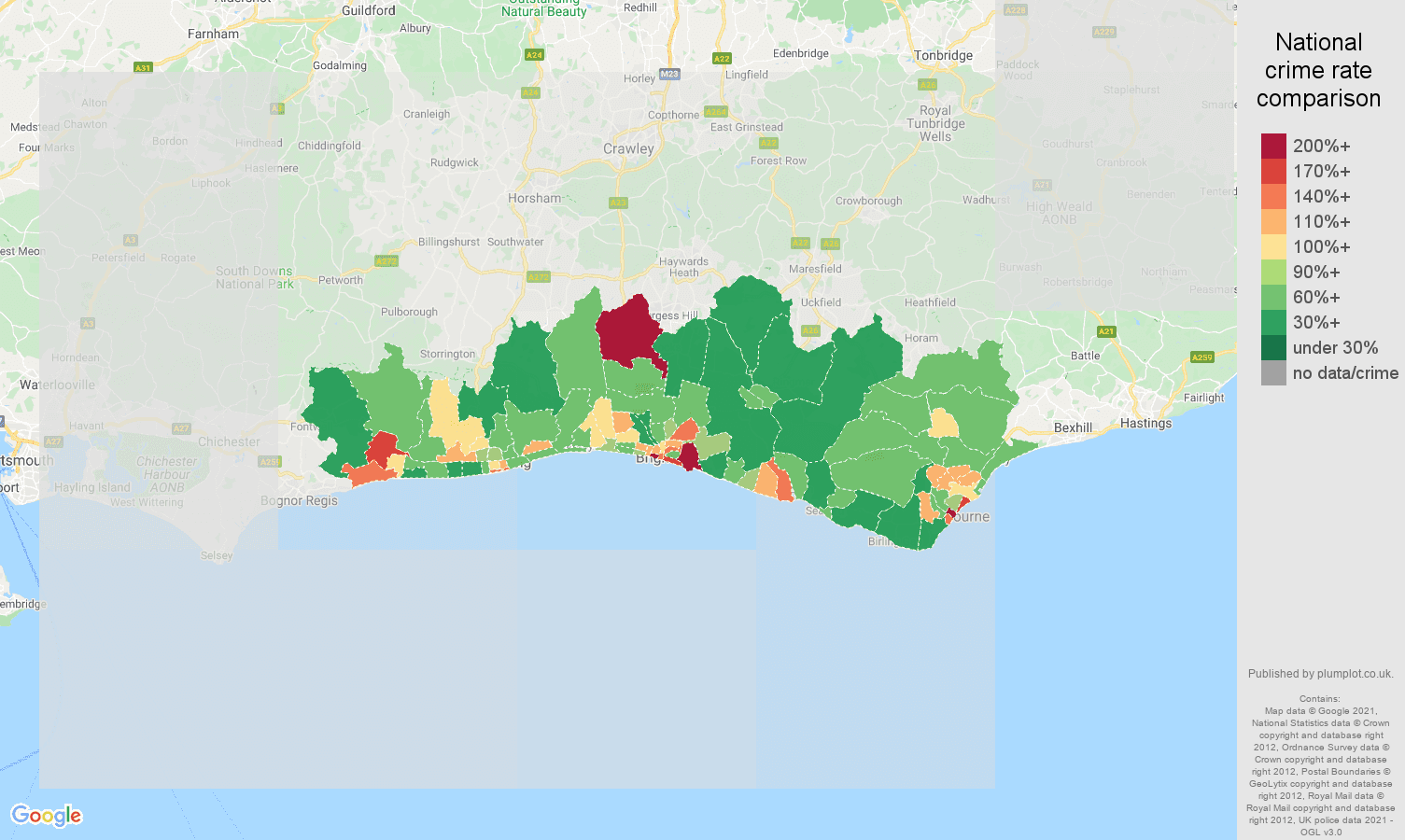 Brighton violent crime rate comparison map