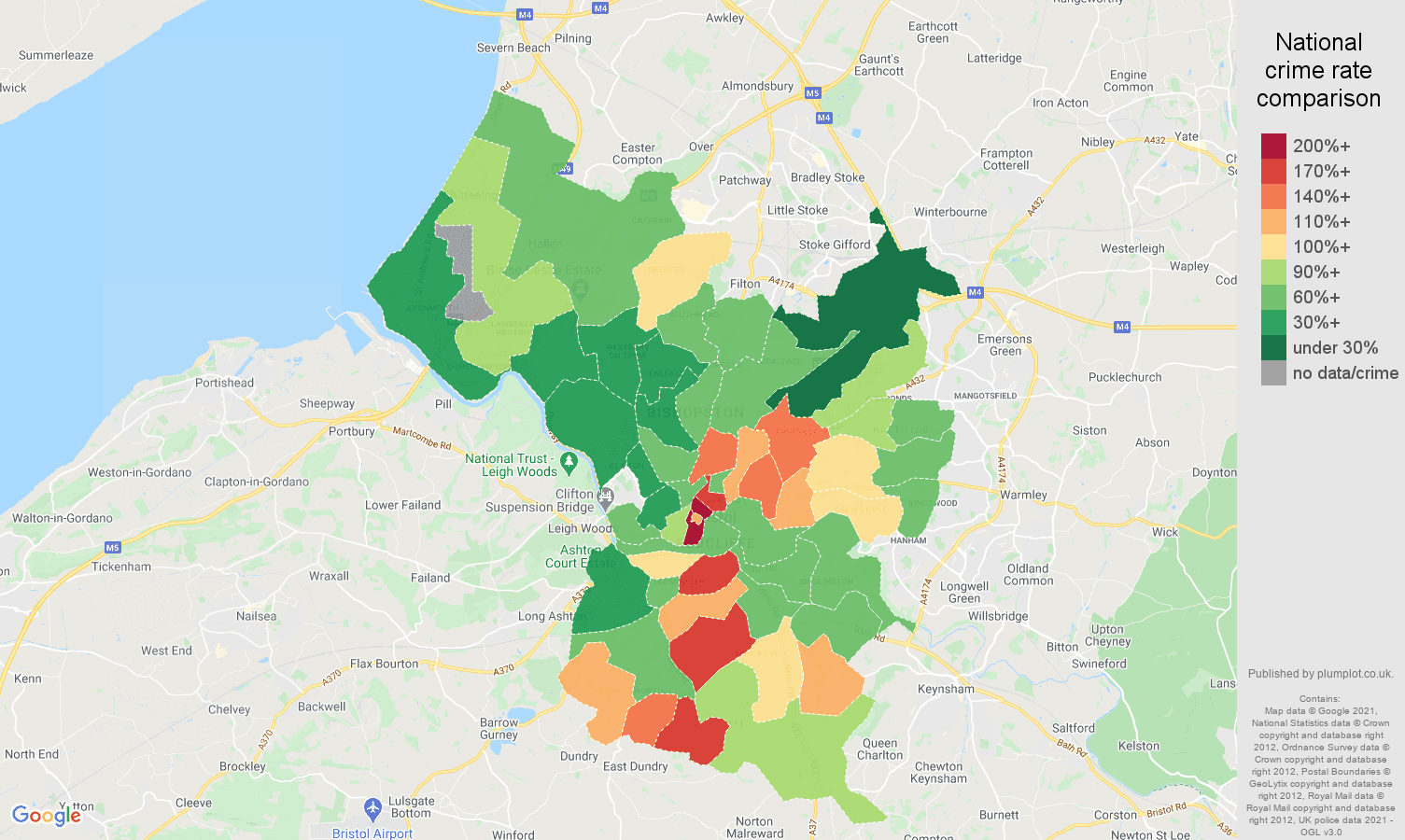Bristol county antisocial behaviour crime rate comparison map