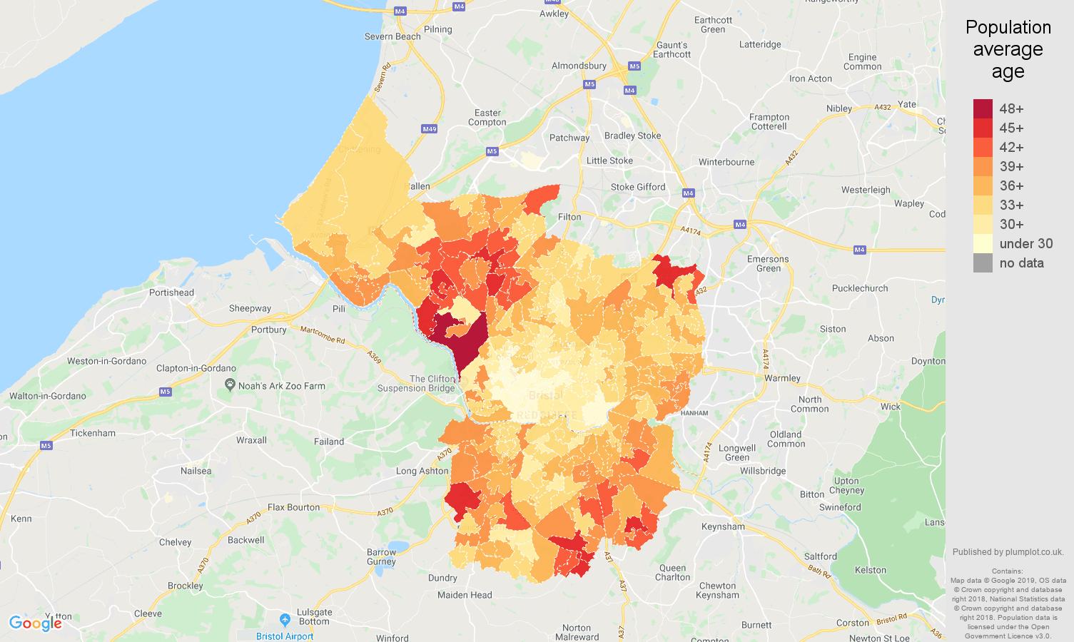 Bristol county population average age map