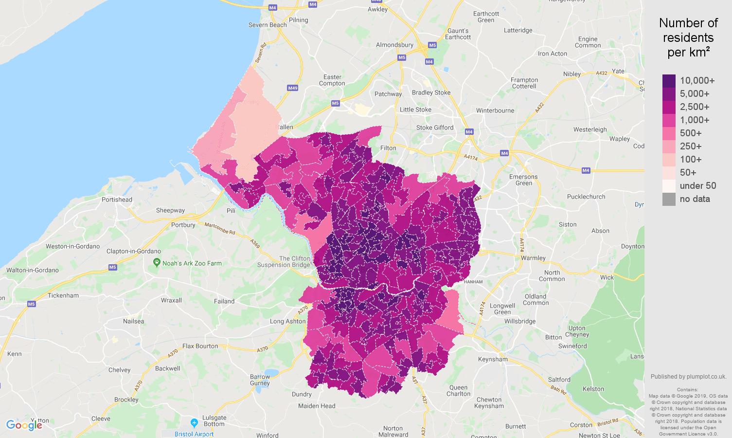 Bristol county population density map