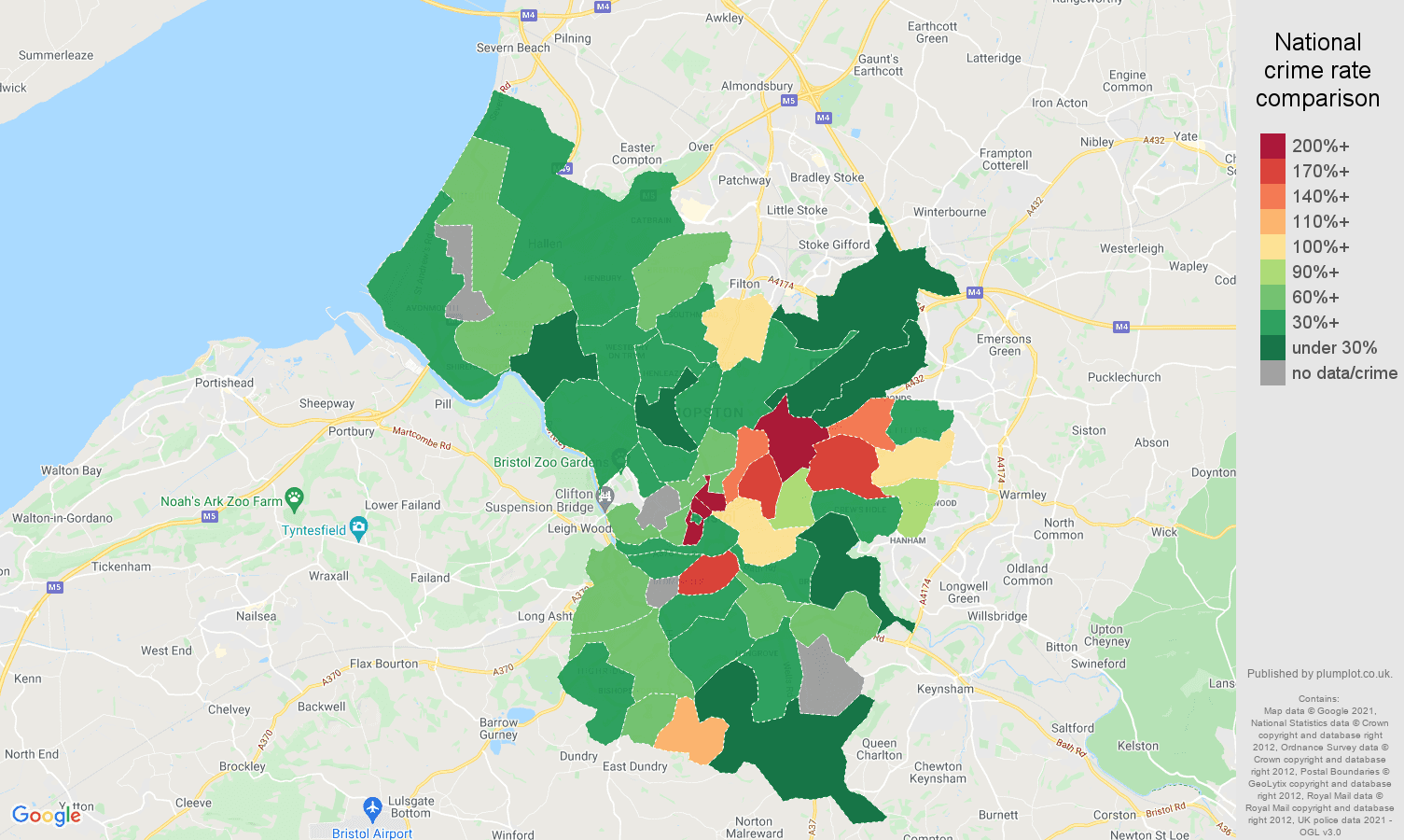 Bristol county theft from the person crime rate comparison map