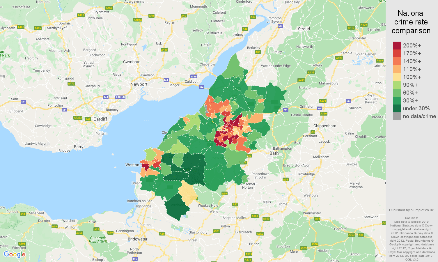 Bristol public order crime rate comparison map