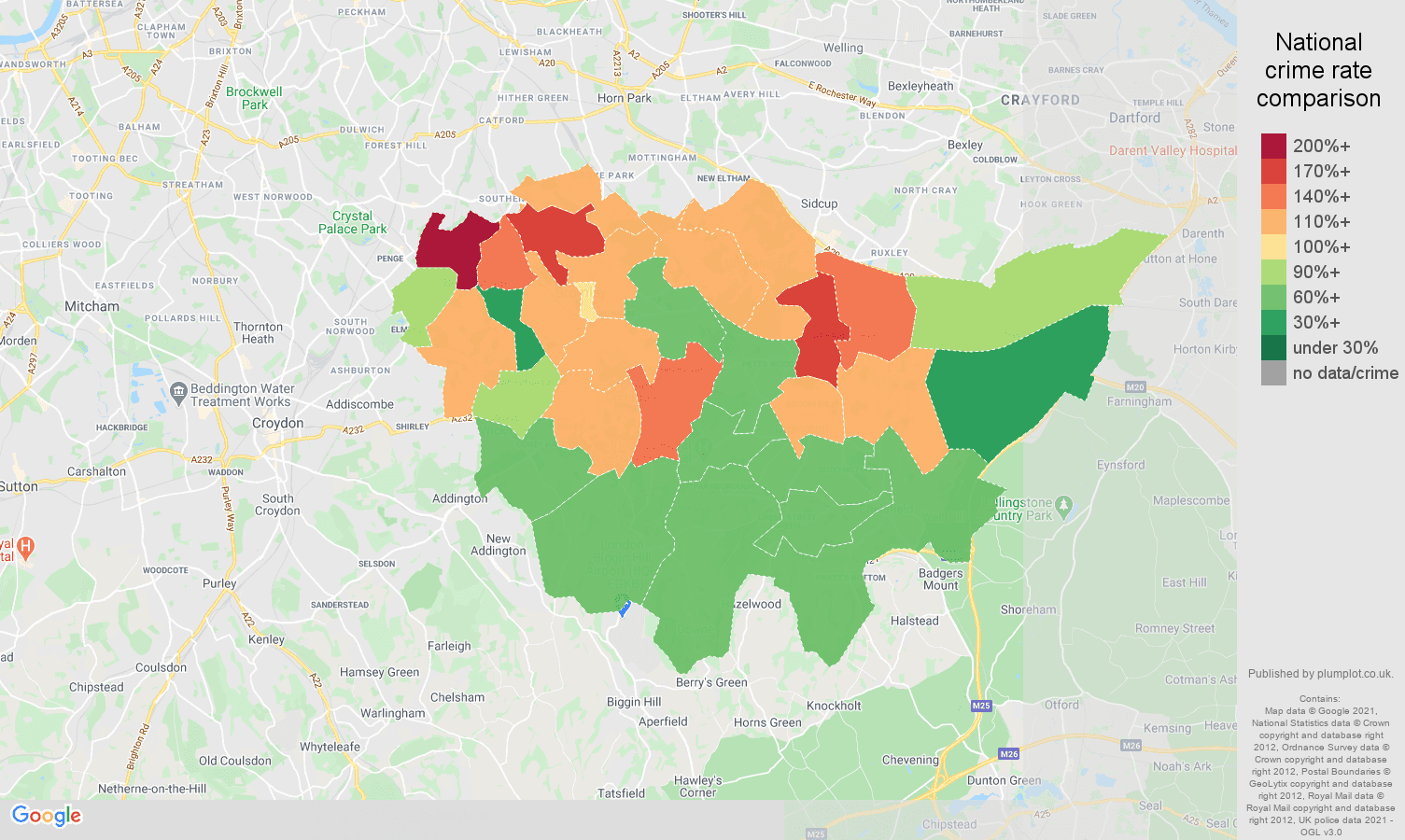 Bromley antisocial behaviour crime rate comparison map