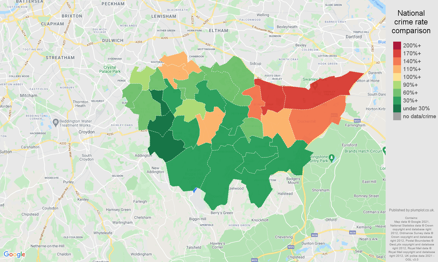 Bromley criminal damage and arson crime rate comparison map