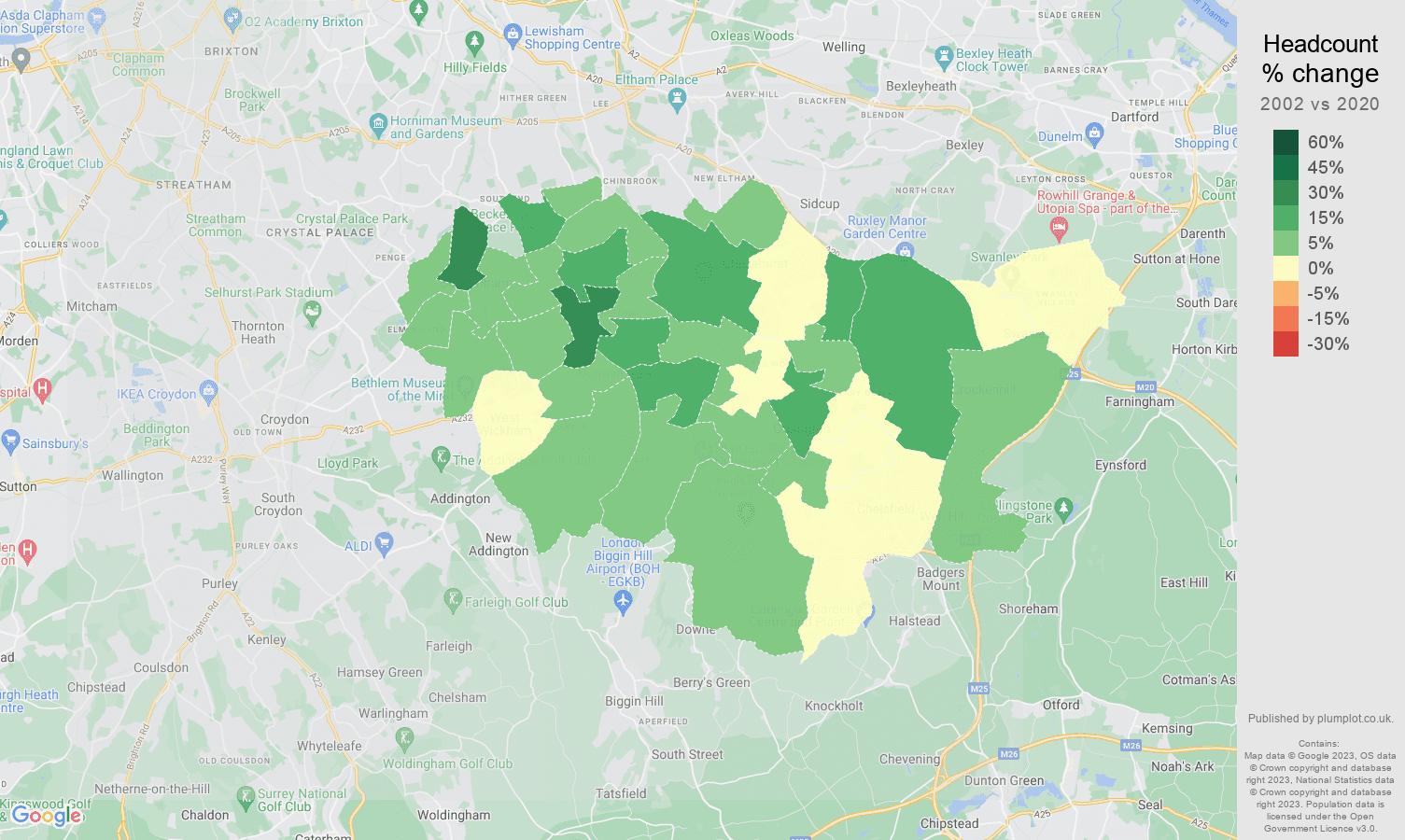 Bromley headcount change map