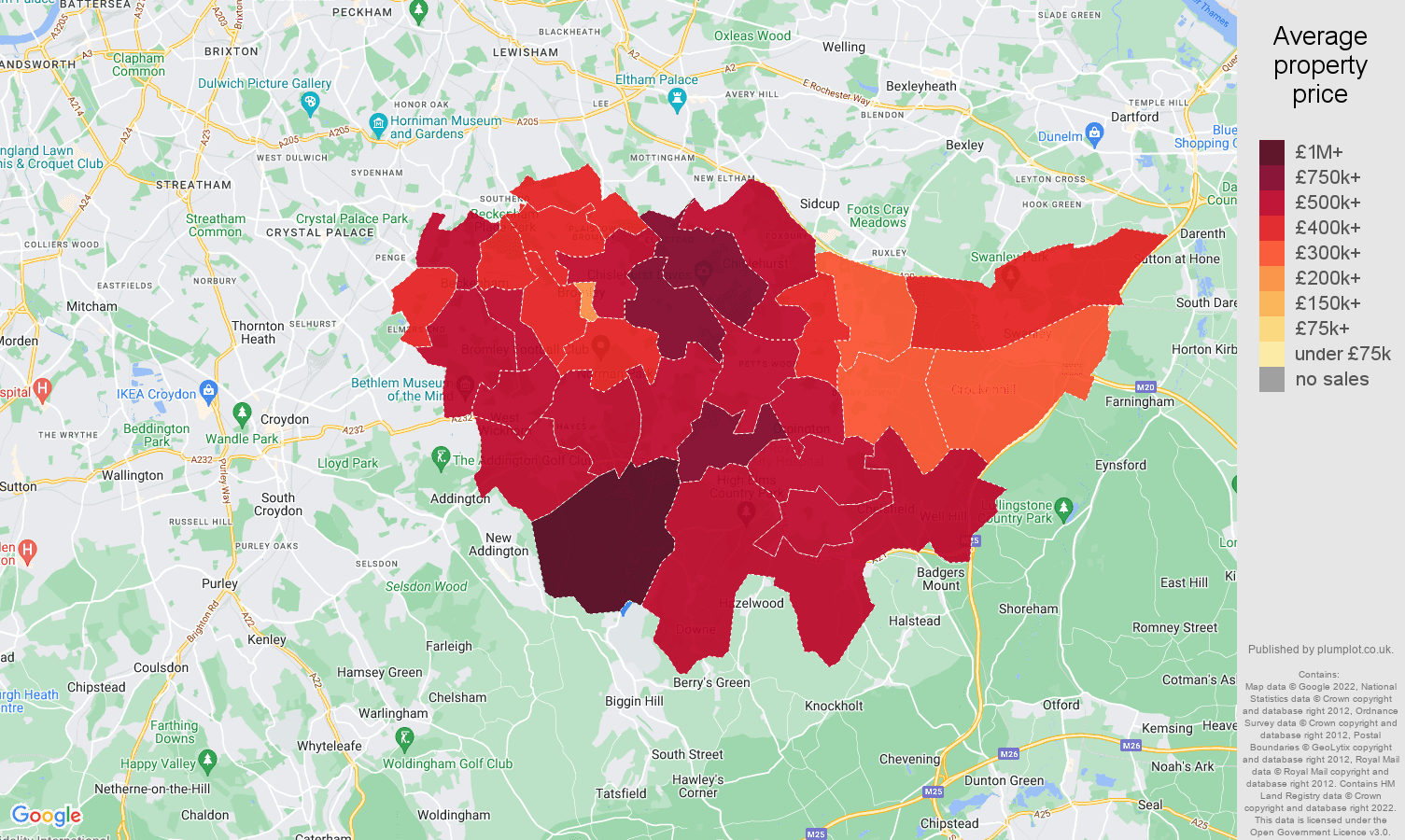 Bromley house prices map