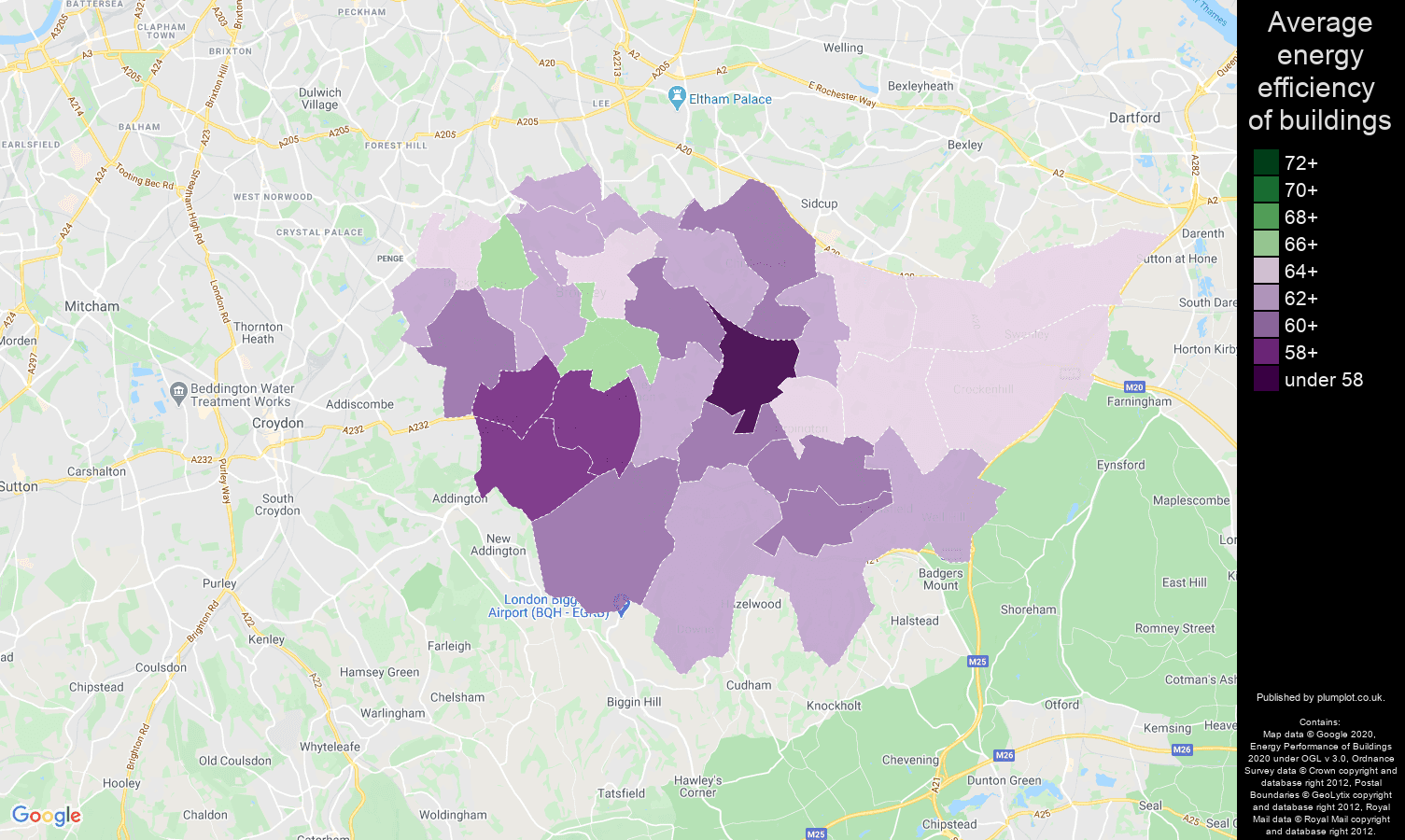 Bromley map of energy efficiency of properties