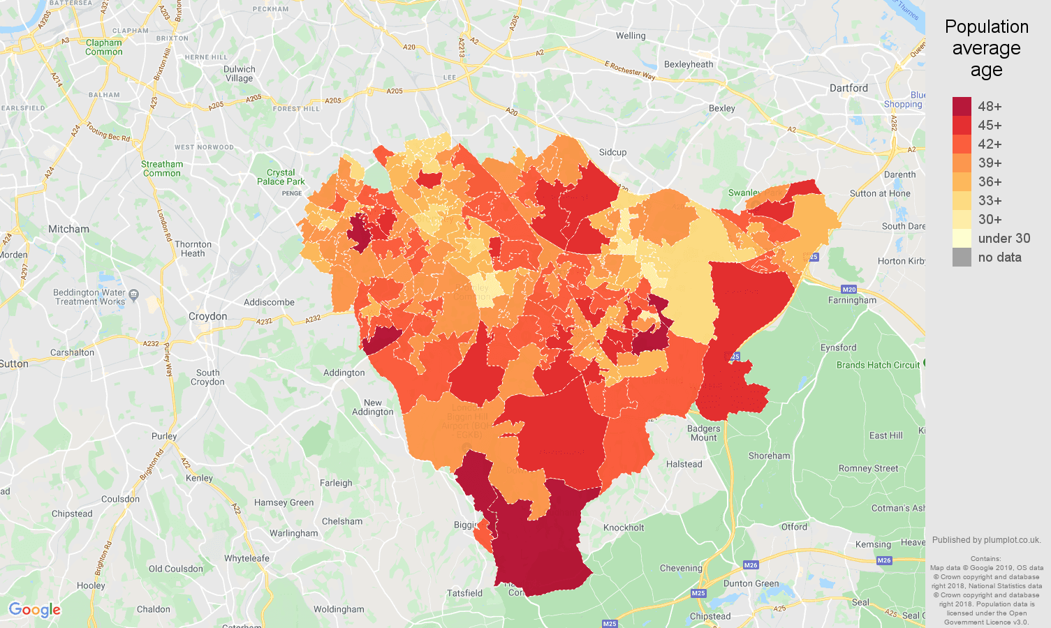 Bromley population average age map