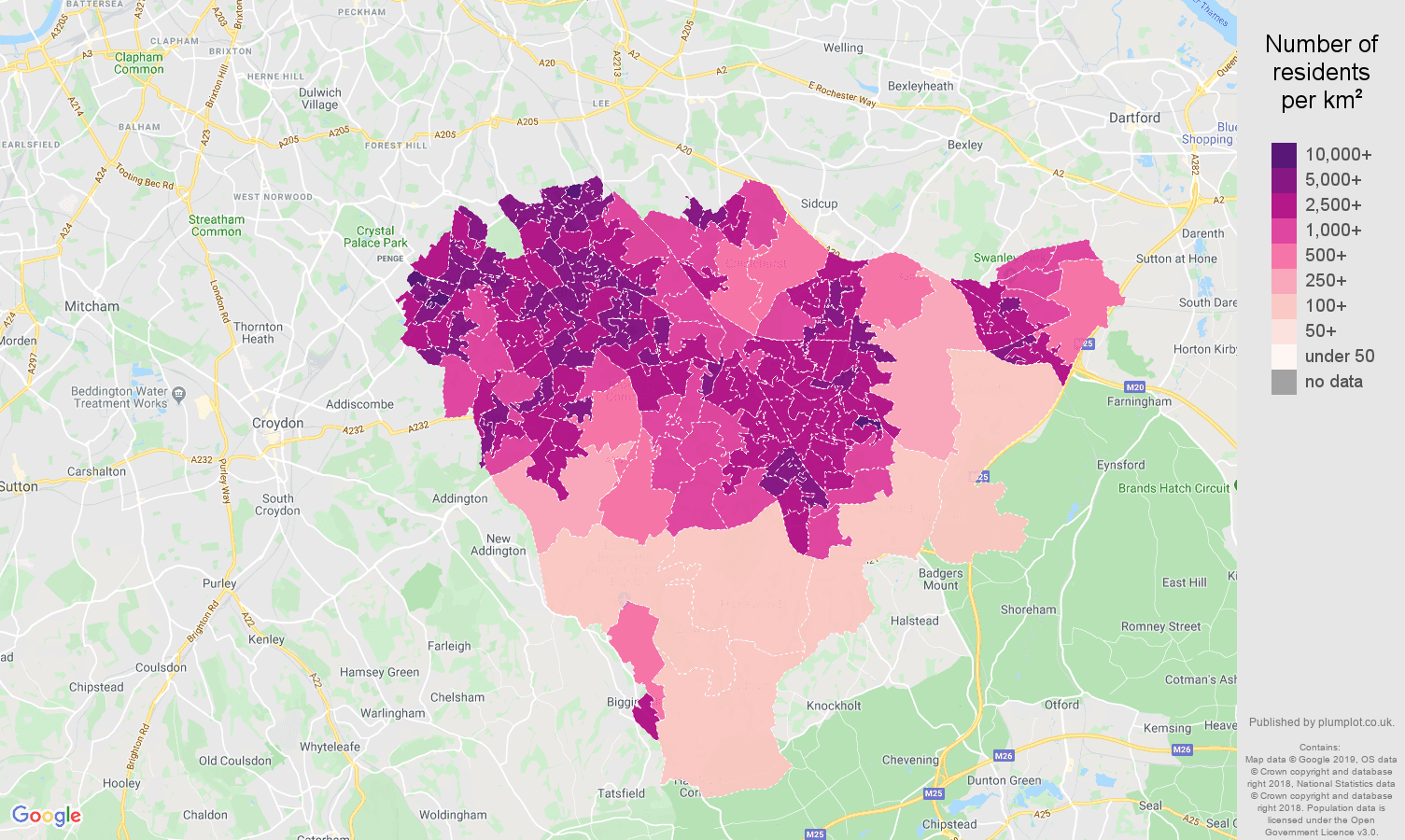 Bromley population density map