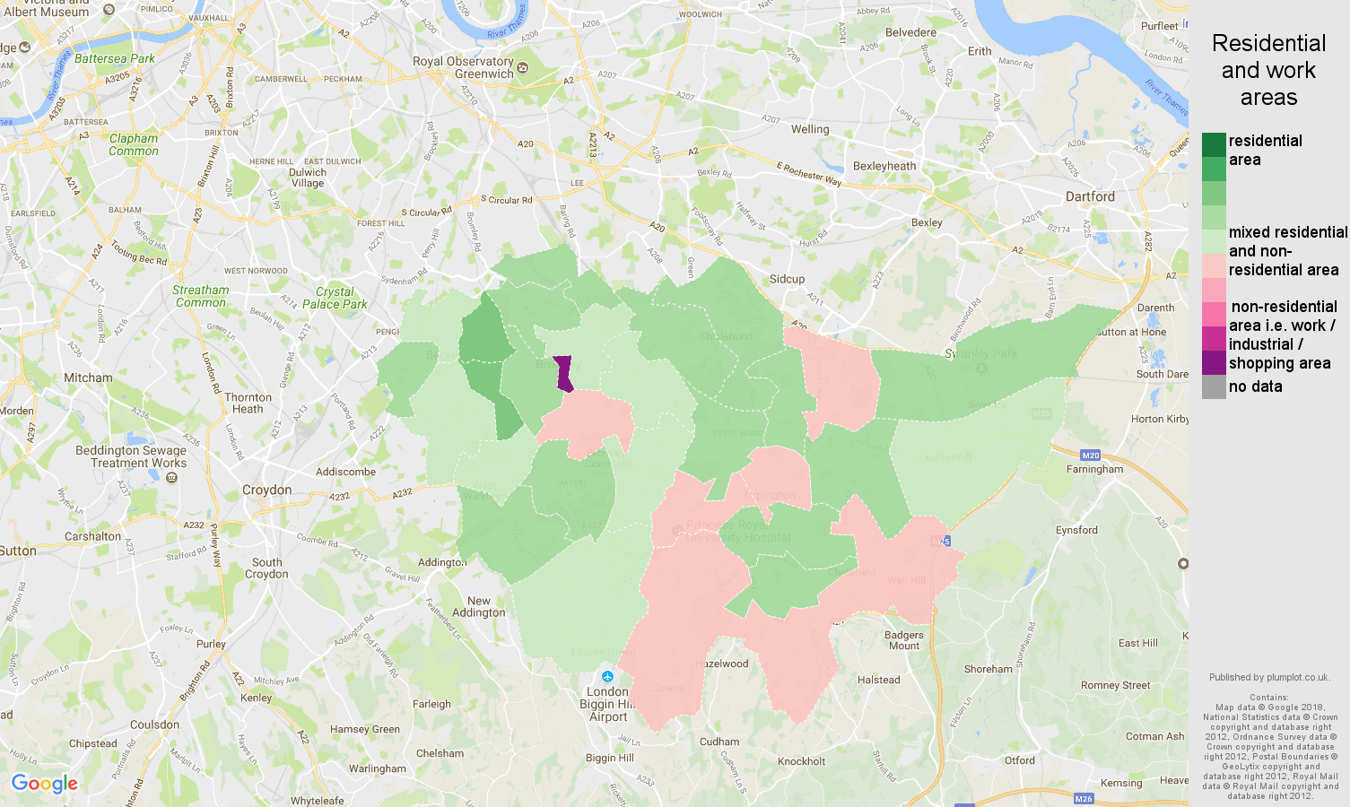 Bromley residential areas map