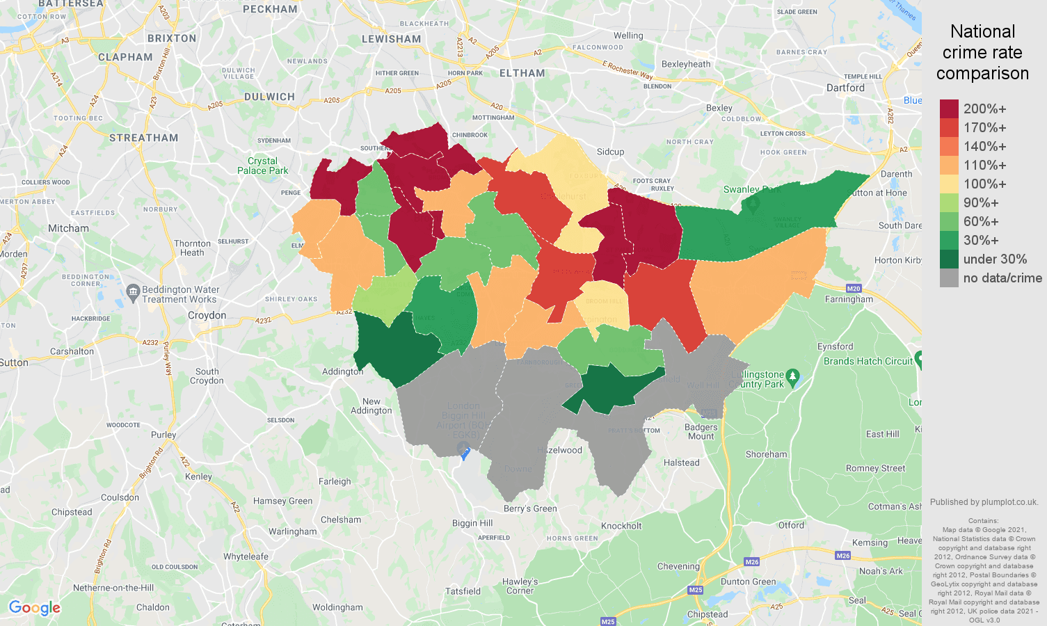 Bromley robbery crime rate comparison map