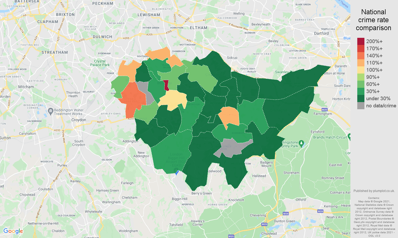 Bromley theft from the person crime rate comparison map