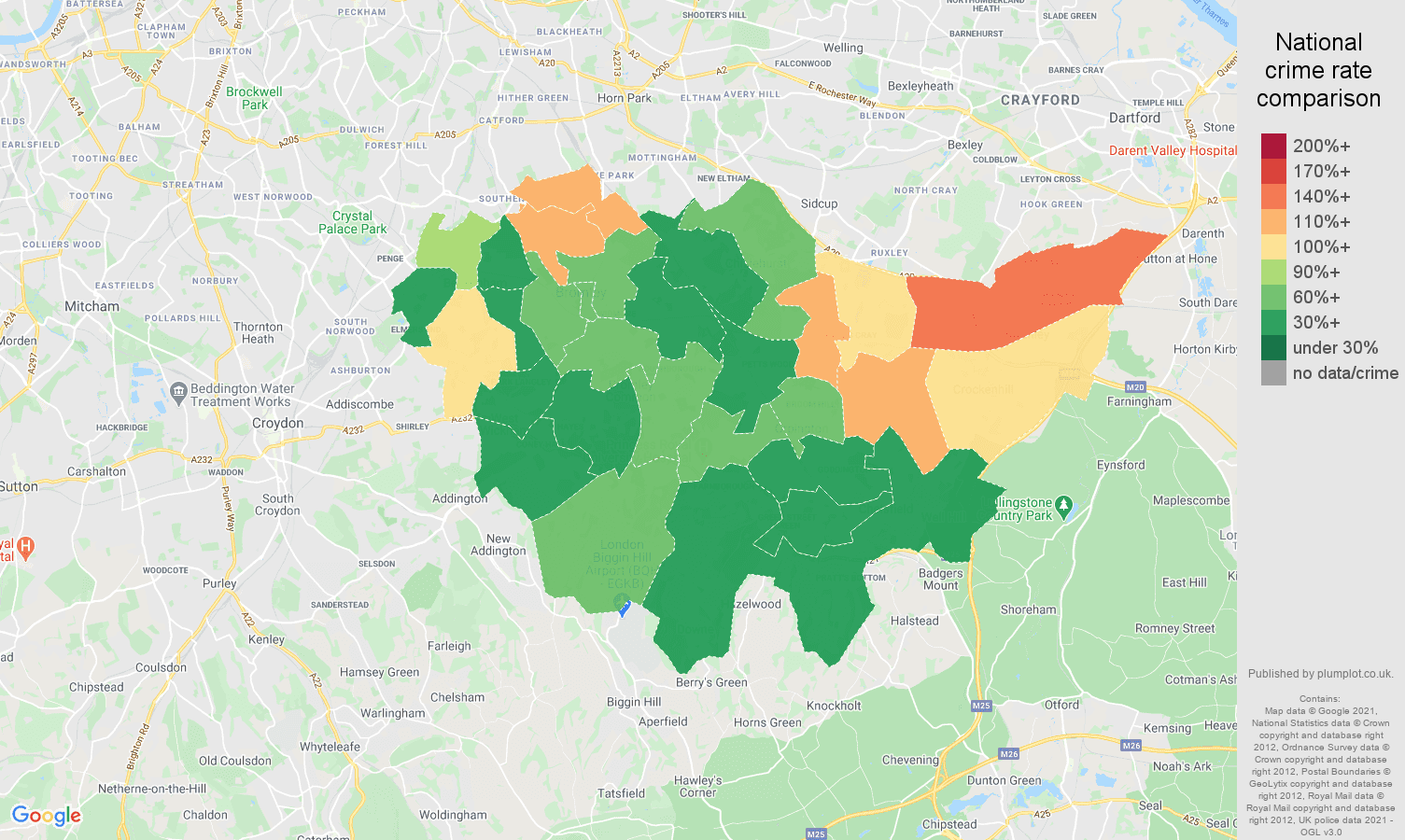 Bromley violent crime rate comparison map
