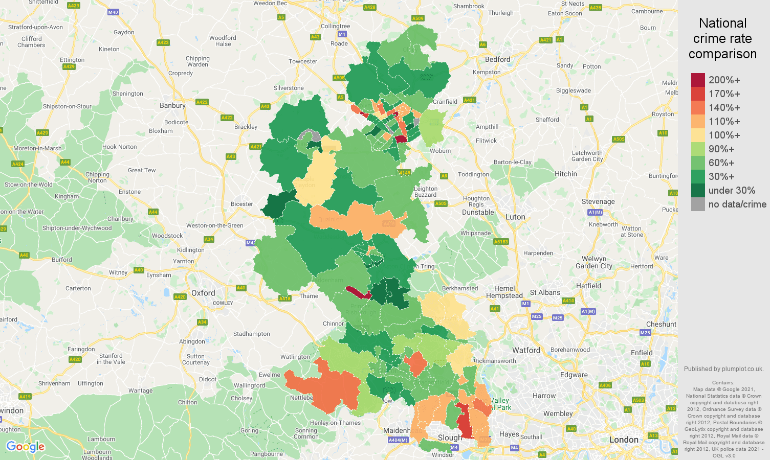 Buckinghamshire burglary crime rate comparison map