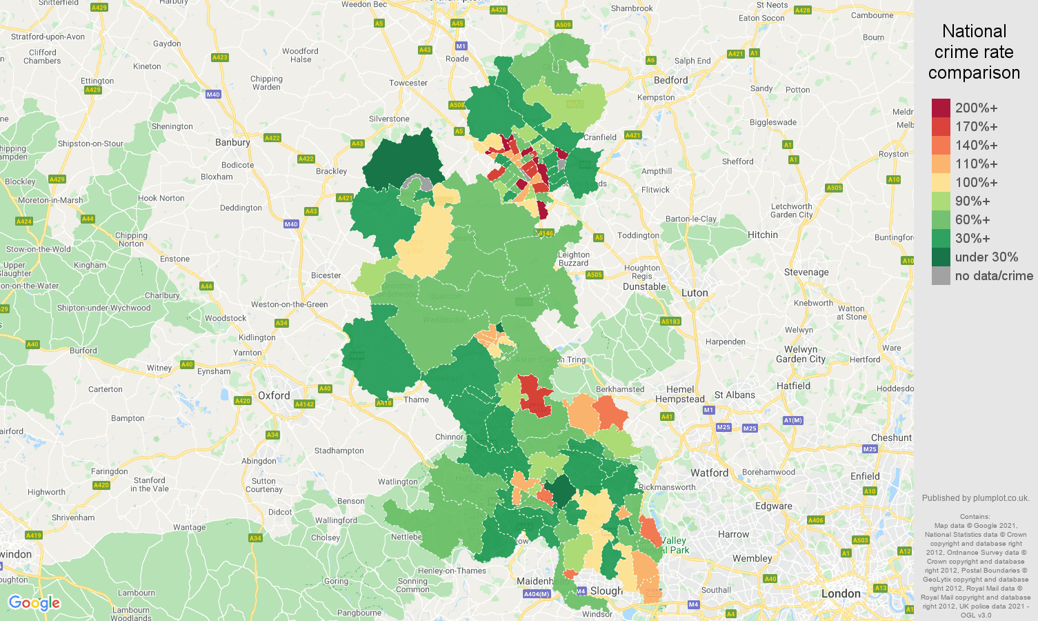 Buckinghamshire criminal damage and arson crime rate comparison map