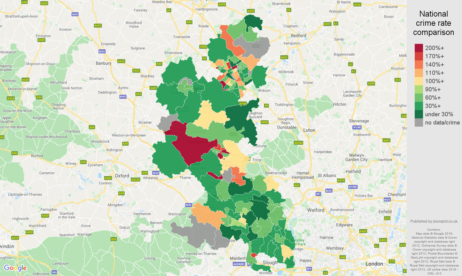 Buckinghamshire other crime rate comparison map