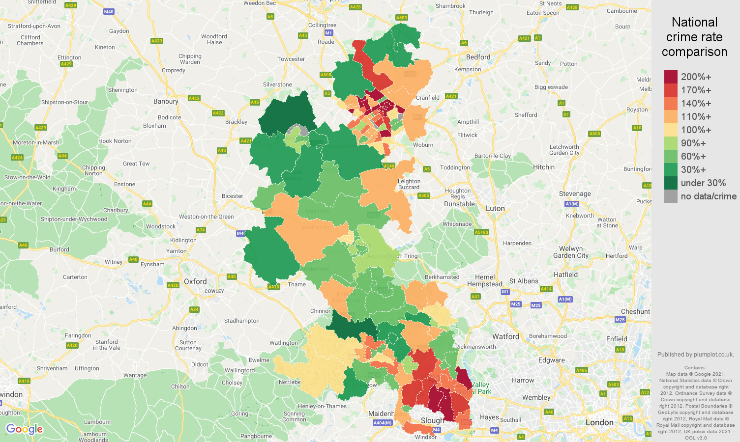 Buckinghamshire vehicle crime rate comparison map