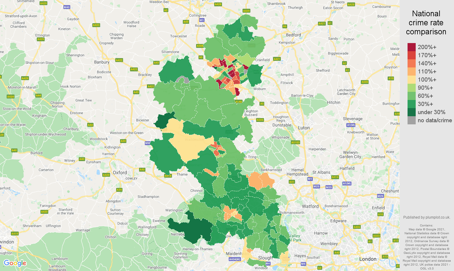 Buckinghamshire violent crime rate comparison map