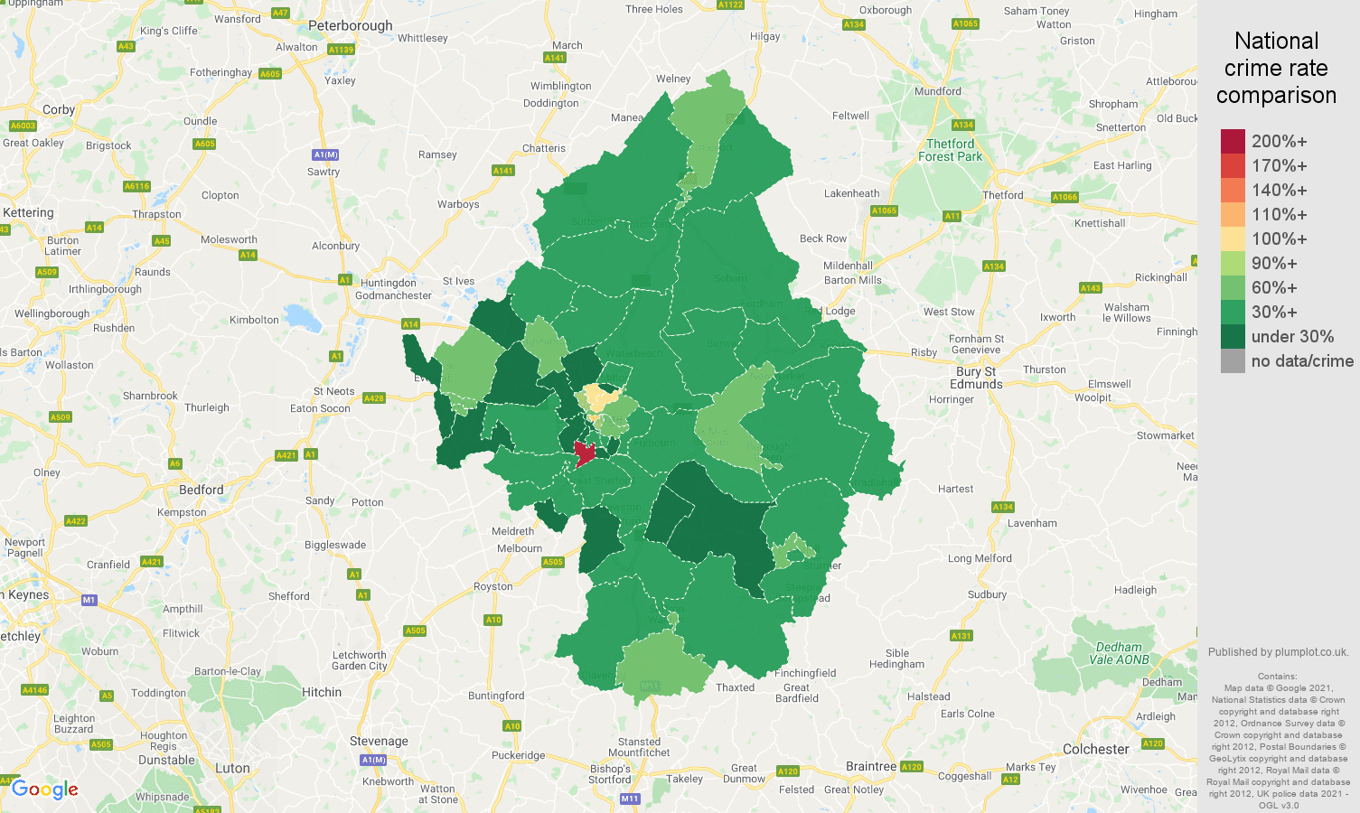 Cambridge antisocial behaviour crime rate comparison map