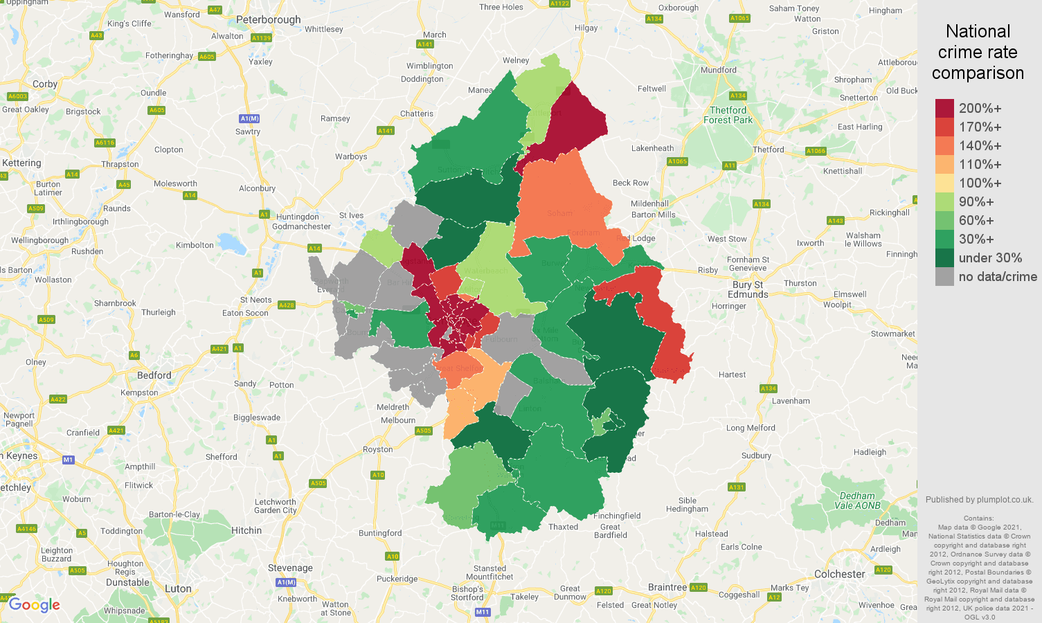 Cambridge bicycle theft crime rate comparison map