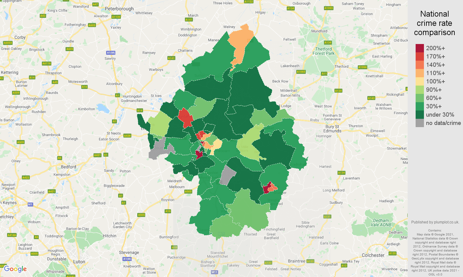 Cambridge drugs crime rate comparison map