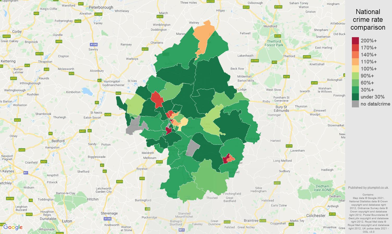 Cambridge drugs crime rate comparison map