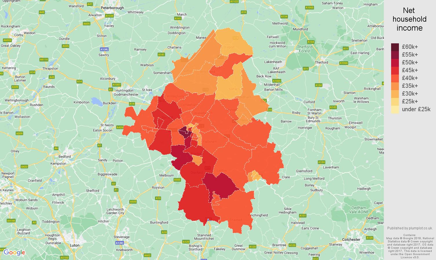 Cambridge net household income map
