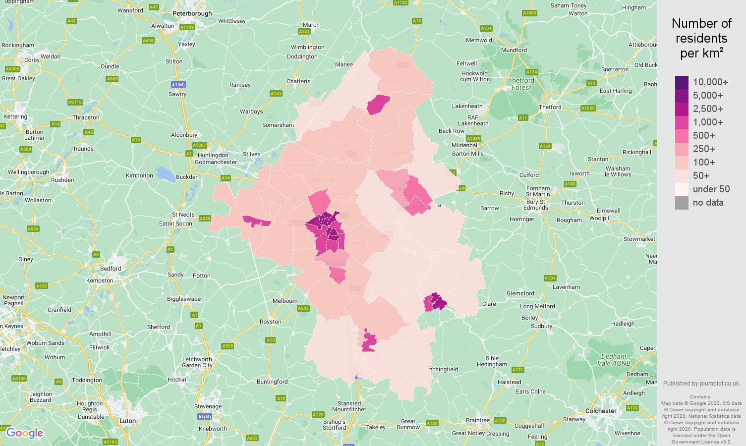 Cambridge population density map