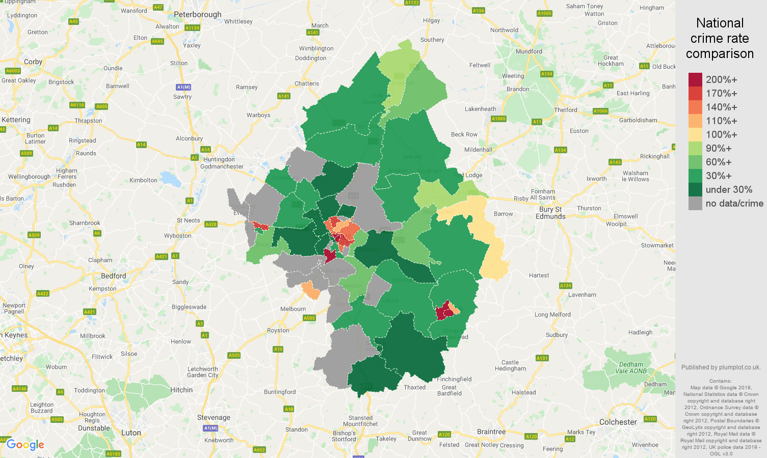 Cambridge possession of weapons crime rate comparison map