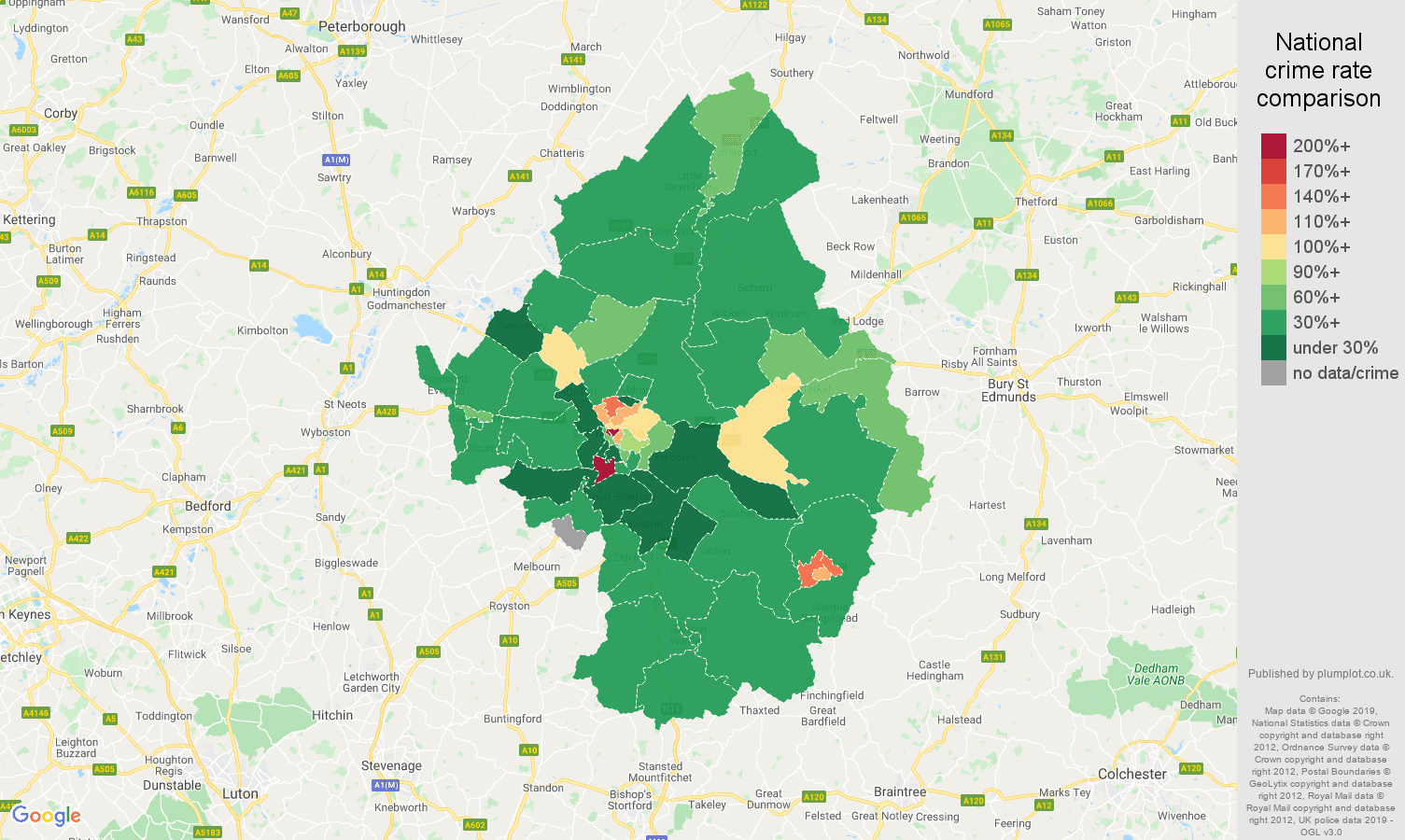 Cambridge public order crime rate comparison map