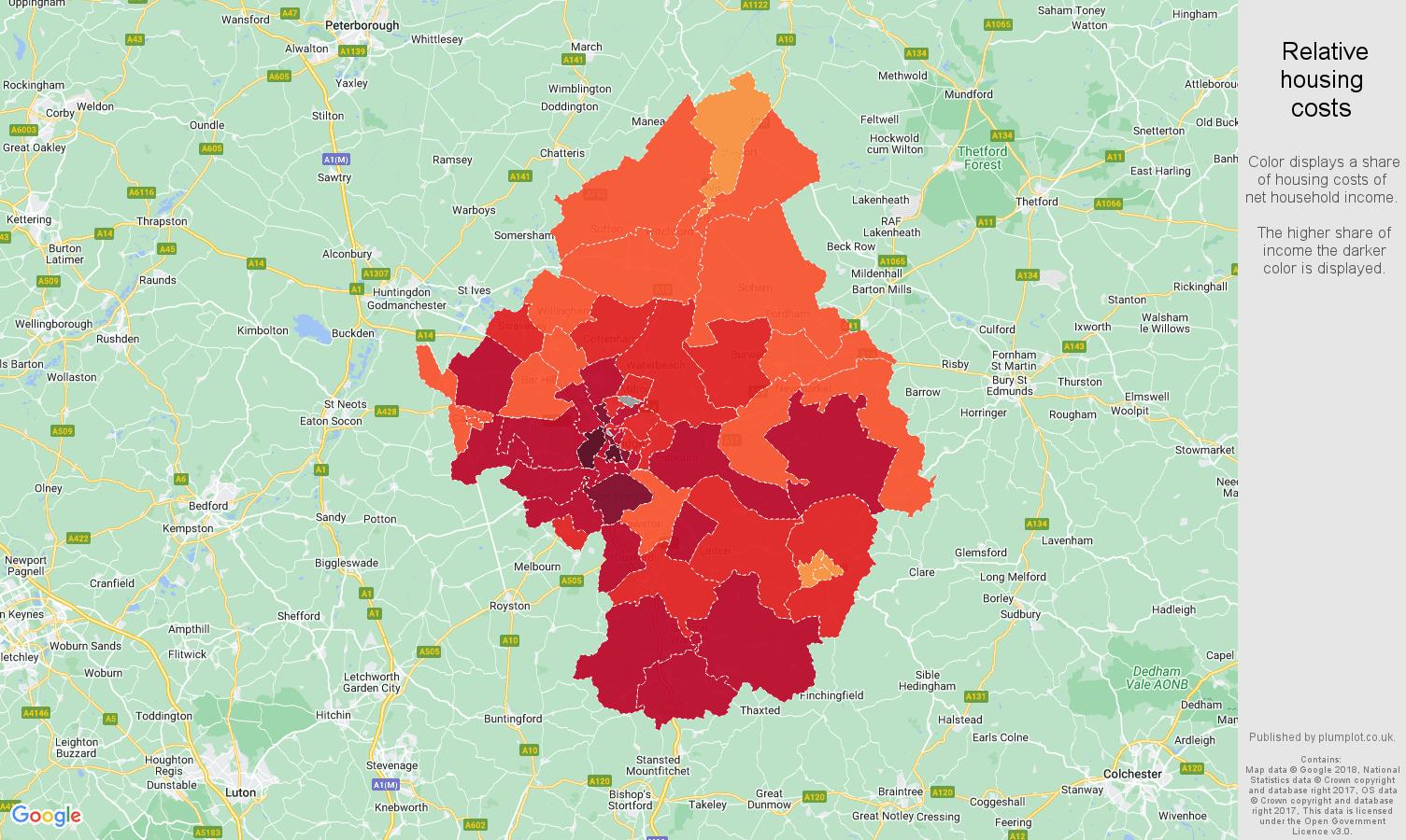 Cambridge relative housing costs map