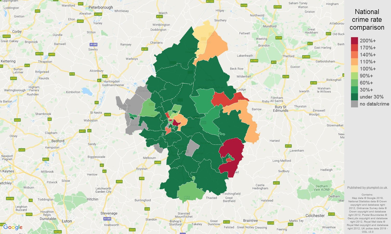 Cambridge shoplifting crime rate comparison map