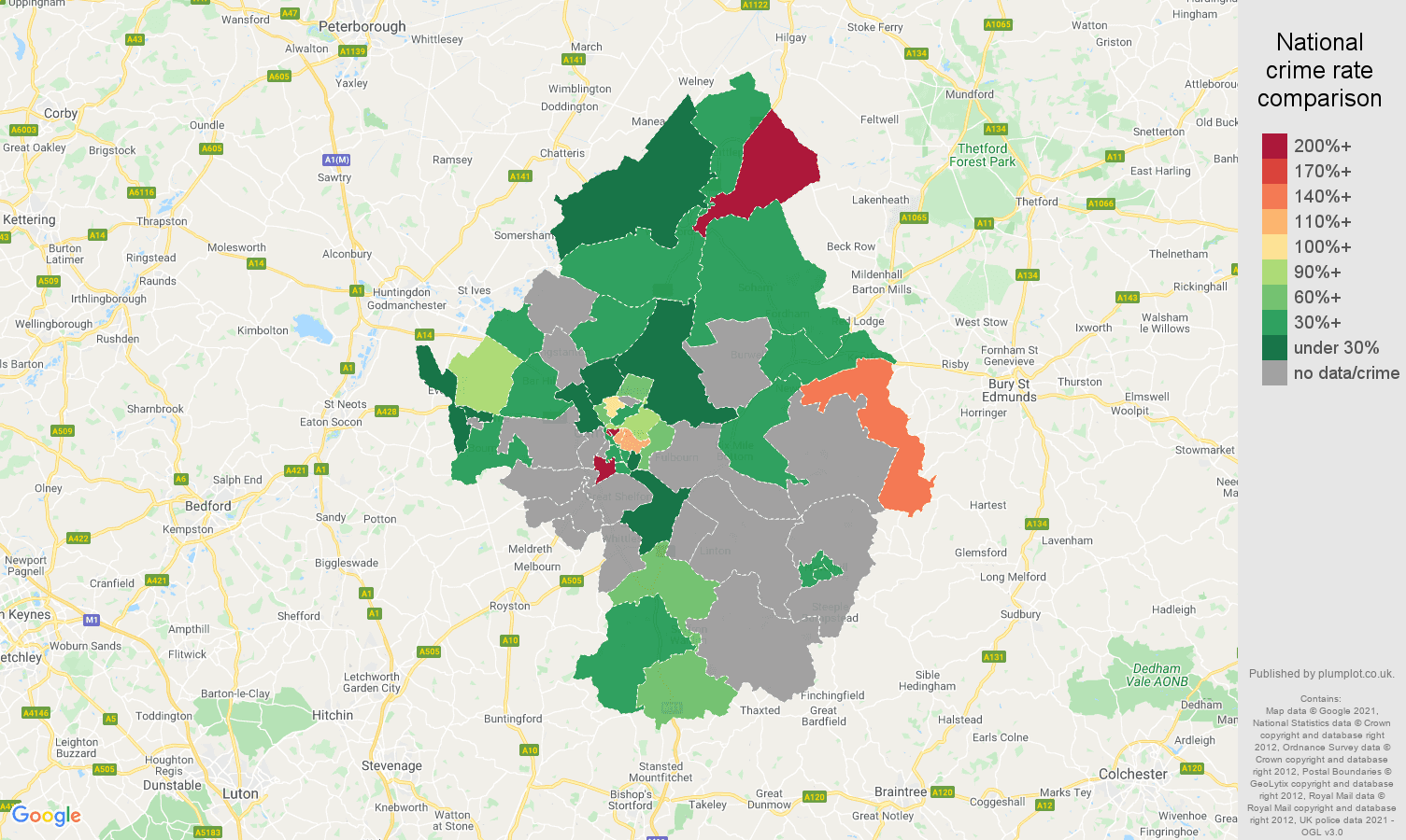 Cambridge theft from the person crime rate comparison map