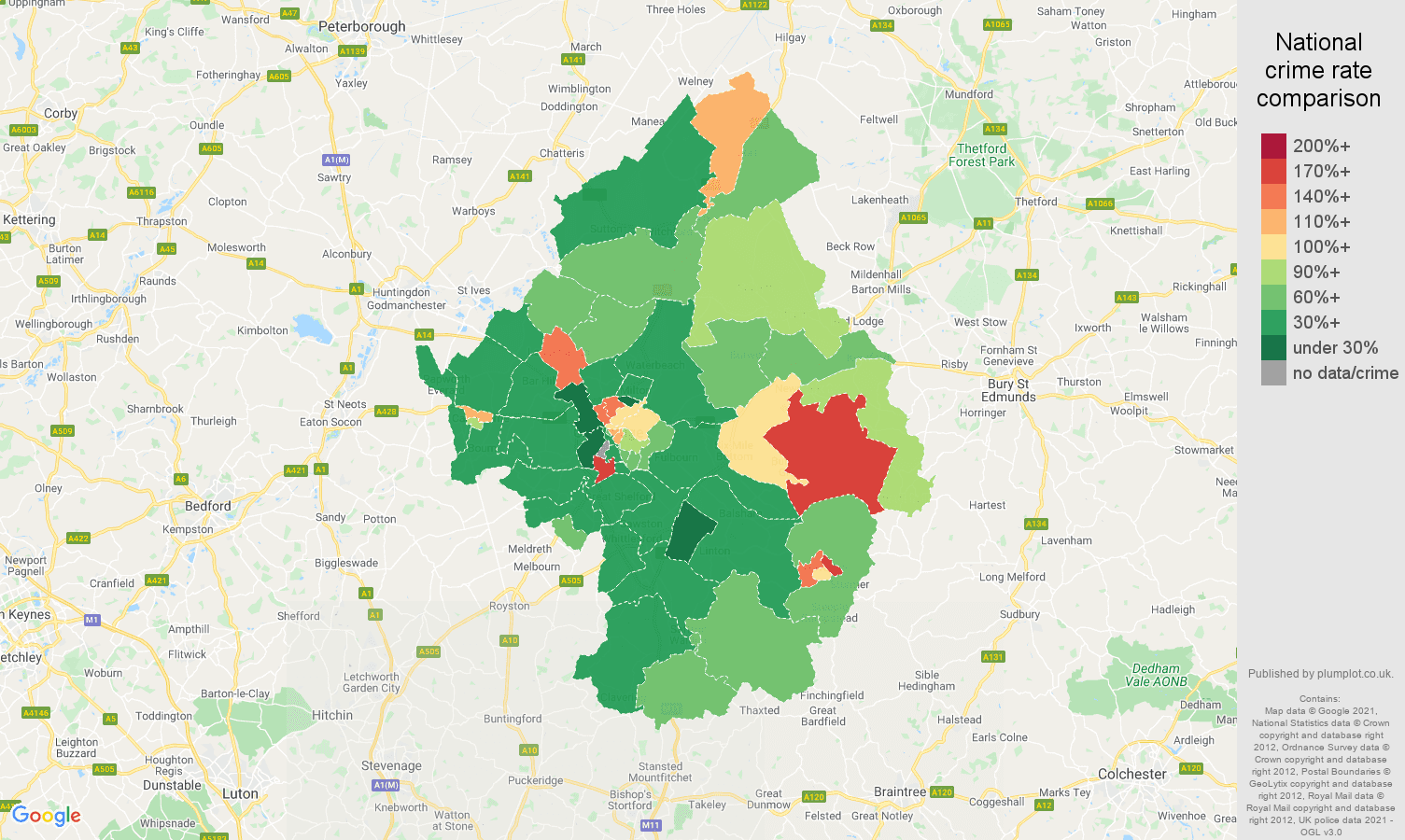 Cambridge violent crime rate comparison map