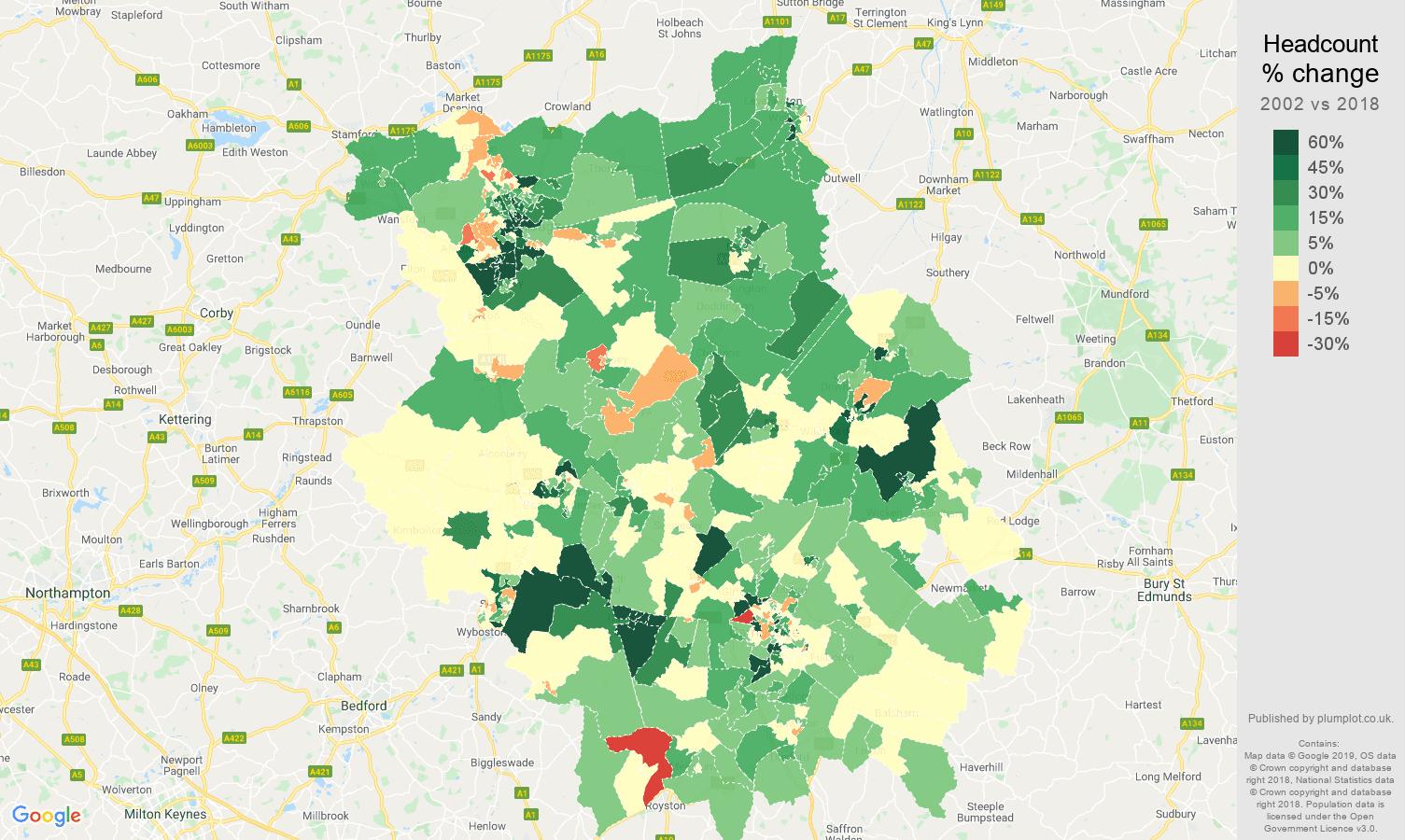 Cambridgeshire headcount change map
